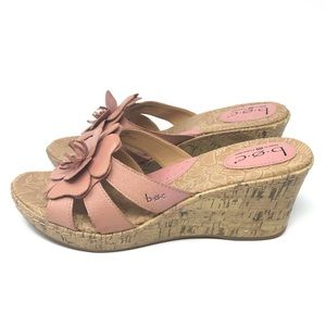 Born Leather Blush Cork Wedge Heel Sandals 10